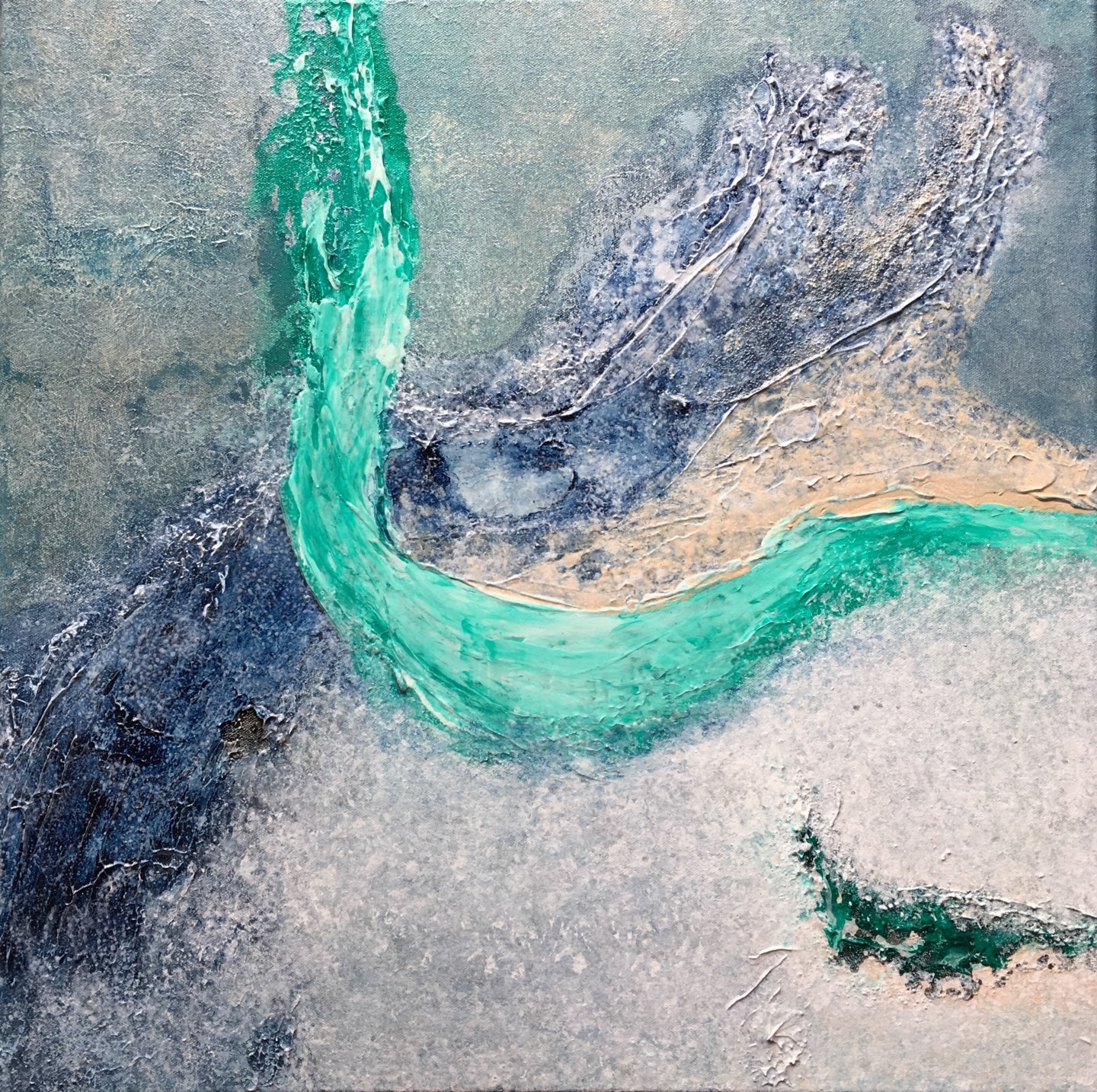 Klara Gunnlaugsdottir - Aqua Splash (60x60cm) Ready to hang-Free shipping